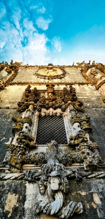 convento: Wall and great manueline window of Templar church of the Convent of the Order of Christ inTomar, Portugal Stock Photo