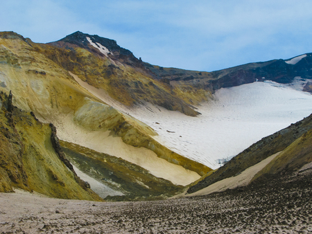 Panorama view inside crater of Mutnovsky volcano at Kamchatka, Russia