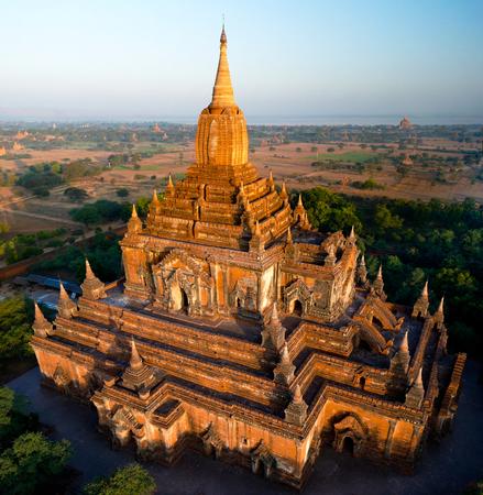 Aerial view to Htilominlo temple at the dawn at Bagan, Myanmar