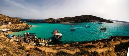 Blue lagoon beach 29-05-2016 Comino island Malta Editorial
