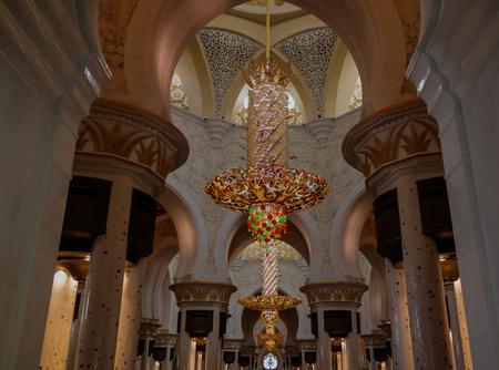 Interior view to Sheikh Zayed Mosque in Abu-Dhabi, UAE