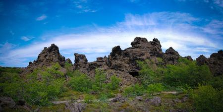 Dimmuborgir nature sculpture around Myvatn lake in Iceland