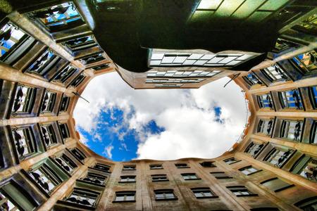 surrealistic: Upper view to Casa Mila house aka La Pedrera at Barcelona, Spain