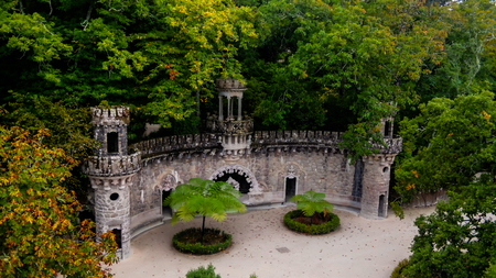 Guardians Entrance in the park of Quinta da Regaleira at Sintra, Portugal Stock Photo