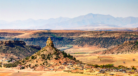 Aerial view to basotho holy mountain, symbol of Lesotho near Maseru in Lesotho Stock Photo