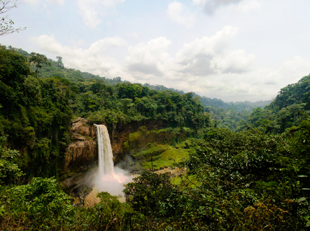 Panorama of main cascade of Ekom waterfall at Nkam river, Cameroon