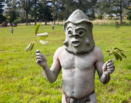 Asaro Mudman tribe man in Mount Hagen festival in Papua New Guinea Stock Photo