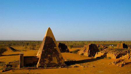 Panorama of Meroe pyramids in the desert at sunset in Sudan,