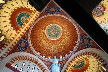 Interior view to mosaic ceiling of Mohammad Al-Amin Mosque in Beirut, Lebanon