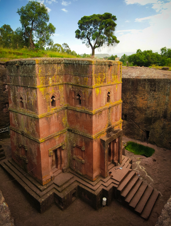 Excavated cross St. George church in Lalibela at Ethiopia