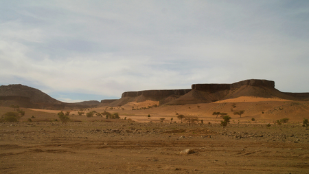 atar: Panorama with Adrar mountain near Terjit, rocks and gorge, Mauritania