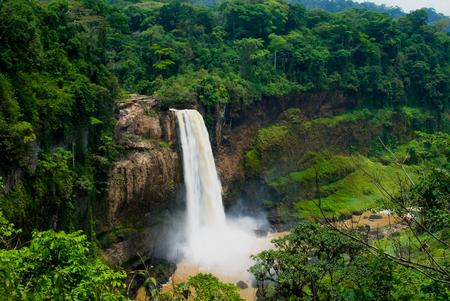 Panorama of main cascade of Ekom waterfall at Nkam river, Cameroon