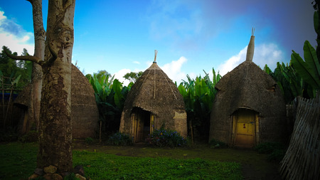Traditioneel Dorze stamdorp in Chencha, Ethiopië