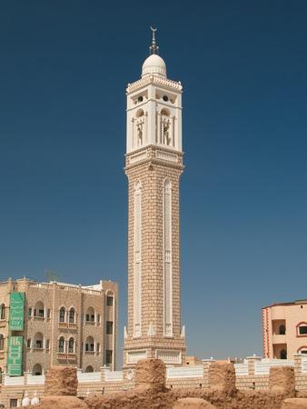 Exterior view of Aljama Mosque at Seiyun, Hadhramaut, Yemen Stock Photo