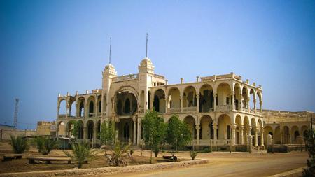 Ruins of the Banko Italia in the center of Massawa in Eritrea