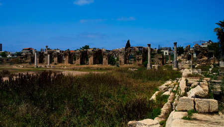 colonnaded: Remains of ancient columns at Al Mina excavation site at Tyre, Lebanon