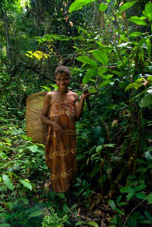 Portrait of Baka pigmy woman - 04-03-2014 Dja Reserve, Cameroon