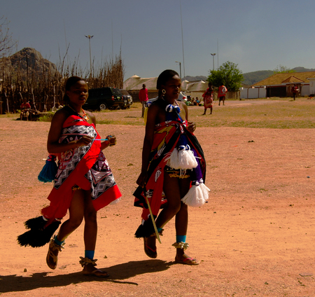 Women in traditional costumes before the Umhlanga aka Reed Dance ceremony - 01-09-2013 Lobamba, Swaziland