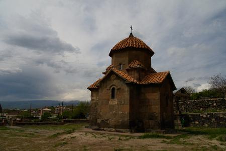 Exterior view to Church of Holy Mother of God aka Surb Astvatsatsin or Karmravor church, Ashtarak, Aragatsotn Province, Armenia Stock Photo