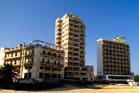 exterior view to Varosha, abandoned district of Famagusta at Nothern Cyprus
