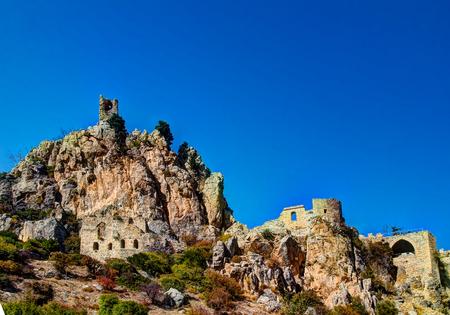 st hilarion: Panorama view to Saint Hilarion Castle at Kirenia, Northen Cyprus Stock Photo