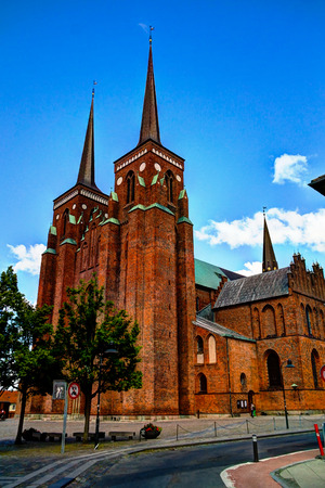 Exterior view to Roskilde Cathedral in Denmark Stock Photo