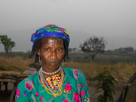 Portrait of tattooed Mbororo aka Wodaabe tribe woman - 01-03-2014 Poli, Cameroon Editorial