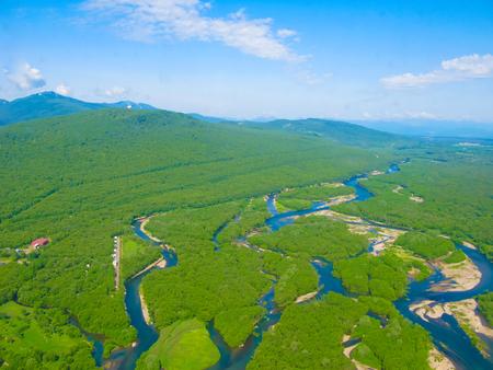 Aerial panorama view to Kamchatka rivers and tundra at Kamchatka peninsula, Russia Stock Photo