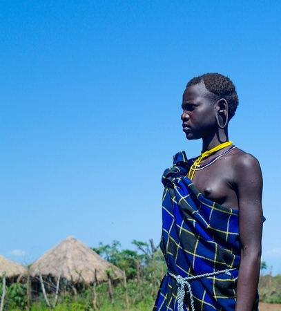 Mursi tribe woman - 05 october 2012 , Omo valley, Ethiopia
