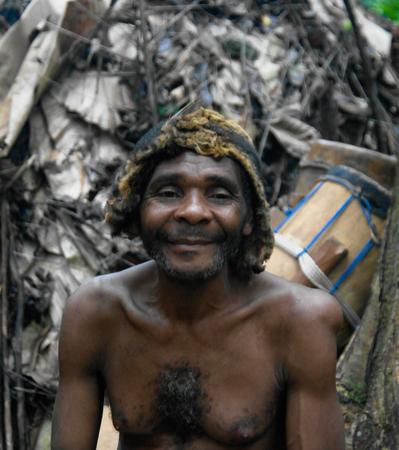 Portrait of Baka pigmy tribe chief - 04-03-2014 Dja Reserve, Cameroon Editorial