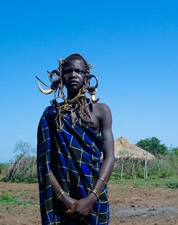 ethiopian ethnicity: Mursi tribe woman - 05 october 2012 , Omo valley, Ethiopia