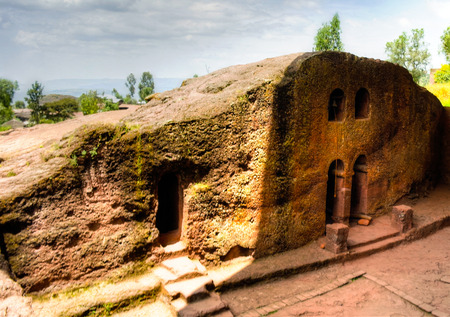 The bell tower of Biete Mariam rock-hewn church at Lalibela, Ethiopia
