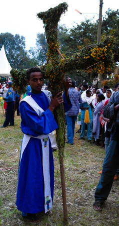 ethiopian ethnicity: Novices at Ceremony of Meskel, Holy Cross finding festival - 27.09.2012 Gonder Ethiopia