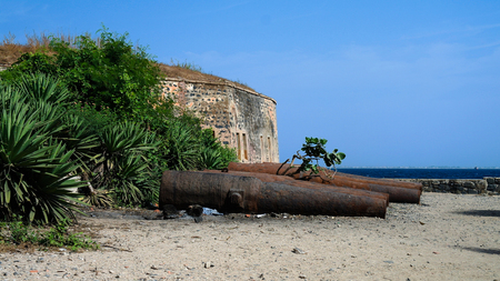 Slavery fortress and cannons on Goree island at Dakar, Senegal