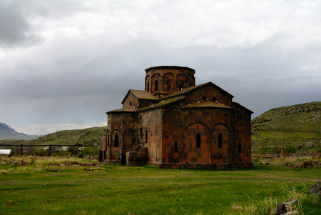 View to ruined Cathedral of Talin in Aragatsotn