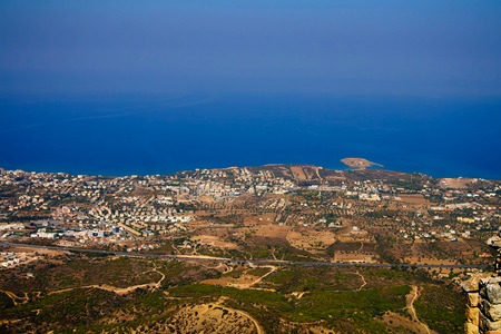 hilarion: Panorama of Northen Cyprus from the top of Saint Hilarion Castle at Kirenia, Northen Cyprus