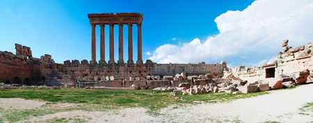 heliopolis: Ruins of Jupiter temple and great court of Heliopolis at Baalbek, Bekaa valley Lebanon