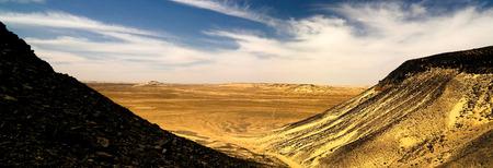 Mountain landscape in Black Desert near Bahariya oasis, , Egypt