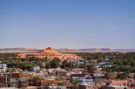 Panorama of old city Shali and mountain Dakrour in Siwa oasis, Egypt Imagens
