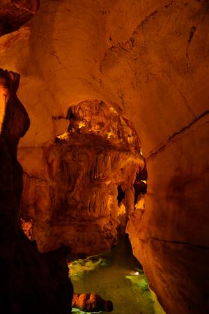 Interior view to Grutas Mira de Aire cave in Portugal
