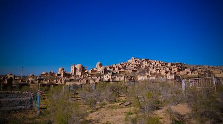 dome of the rock: Panorama view to Mizdakhan cemetery at khodjeyli, Karakalpakstan, Uzbekistan Stock Photo