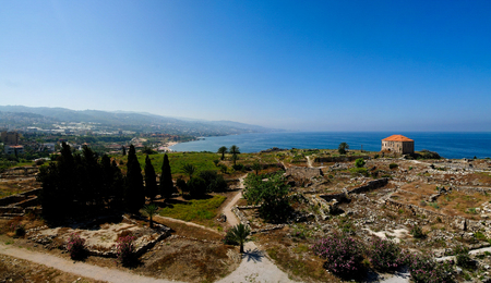 colonnaded: Panorama view of Ancient Byblos ruin at Jubayl, Lebanon