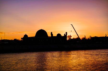 Sunset over Muhammad Imam Iyshan meshiti mosque at Nukus,Karakalpakstan,Uzbekistan