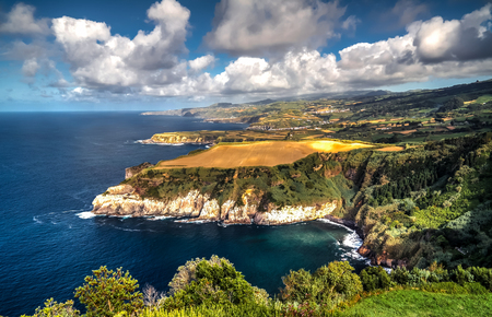Panorama view to coastline of Sao Miguel island from Santa Iria viewpoint in Azores. Portugal