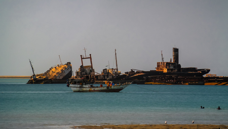Panorama of Berbera port and beach with boats, Somalia