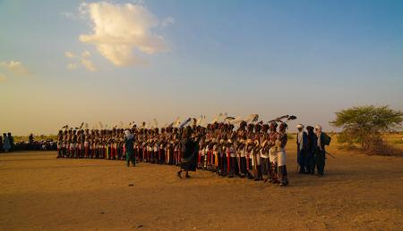 Men dancing Yaake dance and sing at Guerewol festival - 23 september 2017 InGall village, Agadez, Niger Editorial
