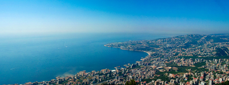 Aerial panoramic view to Jounieh city and bay from Harissa mountain, Lebanon Imagens