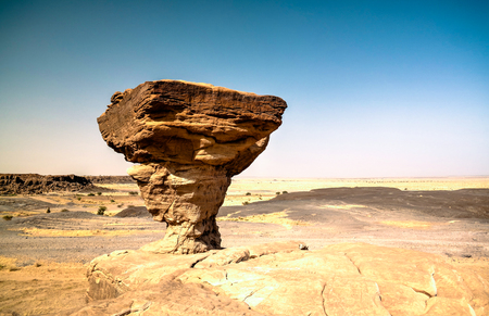 Rock formation at Sahara desert near Tchirozerine region near Agadez, Niger Stok Fotoğraf