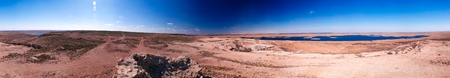 360 Landscape of Sudochye lake aka part of former Aral sea at Urga fishing village at Karakalpakstan, Uzbekistan Stock Photo