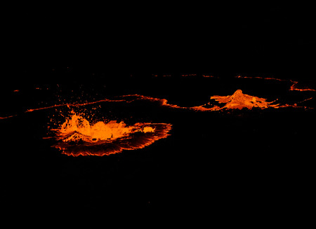 Erta Ale volcano crater, melting lava splash, Danakil depression, Ethiopia
